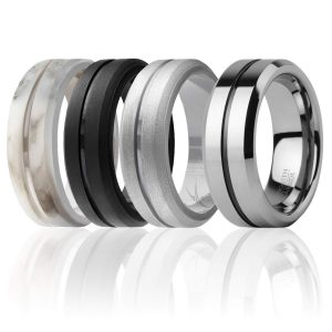 ROQ - 4 Pack - 3 Silicone & 1 Tungsten Carbide Wedding Rings for Men Step Edge Style