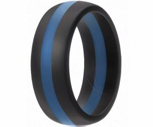 ROQ Silicone Wedding Ring for Men, 7-4 Pack Classic Style Solid & Striped