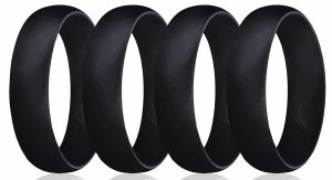 ROQ Silicone Wedding Ring for Men, Affordable 6mm Metallic Silicone Rubber Wedding Bands
