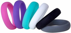 Womens Silicone Wedding Ring Band by HonorGear - Ring Pack Premium